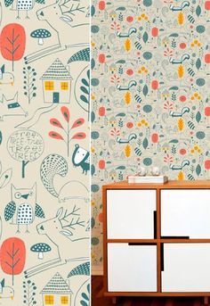 WALLPAPER - muffin & mani {so pretty!}Just one wall in the nursery, so many more pretty patterns to choose from Kids Wallpaper, Wall Wallpaper, Pattern Wallpaper, Playroom Wallpaper, Nursery Decor, Wall Decor, Motifs Textiles, Pretty Patterns, Art Patterns