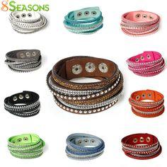 Bracelets  8SEASONS Snap Jewelry Velvet Fashion Bracelets Suede Silver Tone Color Slake Leather With Rhinestone Couple Jewelry 39.0cm long ** Localize a oferta simplesmente clicando no botão VISITAR