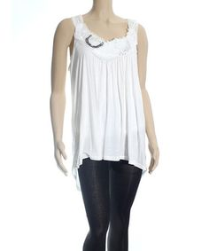 Love this Ivory Rosette Hi-Low Tunic - Women & Plus on #zulily! #zulilyfinds....19.99