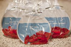 "Valentine's Treats--So Cute! Swedish Fish in round baggie with cute cut outs to make it look like a fish bowl ""Glad we're in the same school!"""
