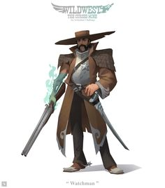 Wildwest Challenge - Watchman by Mr--Einikis on DeviantArt Character Concept, Character Art, Concept Art, Character Design, Character Ideas, Dark Fantasy, Fantasy Art, Dragons, Westerns