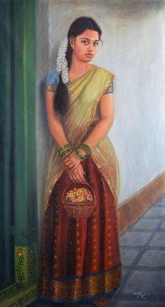 Artist Vishalandra Dakur's Girl To Temple Painting Online. Red oil Painting by Vishalandra Dakur on Canvas, Figurative based on theme Vishalandra Dakur. Indian Women Painting, Indian Art Paintings, Indian Artist, Abstract Paintings, Oil Paintings, Painting Of Girl, Painting People, Painting Art, Ganesha Painting