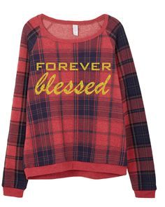 FOREVER blessed Red & Blue Plaid Sweatshirt at 1108 Boutique
