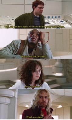 Hitchhiker's Guide to the Galaxy  -Every time I notice that it's on TV, I watch it.  Doesn't matter when I last saw it or how long it's been on.  It's brilliant!