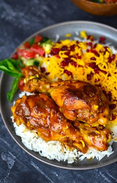 Persian Saffron Chicken {Zereshk Polo Ba Morgh} - Dinners to try - Turkish Recipes, Indian Food Recipes, Ethnic Recipes, Persian Recipes, Arabic Recipes, Iranian Cuisine, Iranian Food, Persian Chicken, Persian Saffron Chicken Recipe
