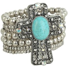 M&F Western Western Charm Cross W/Turquoise Stone And Crystals... (€23) ❤ liked on Polyvore featuring jewelry, bracelets, silver western jewelry, silver cross jewelry, silver cross charm, western cross jewelry and silver bangles