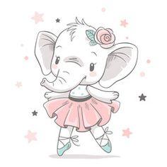 Vector illustration of a cute baby elephant ballerina in a pink tutu. - Dariana Wunsch - Vector illustration of a cute baby elephant ballerina in a pink tutu. Vector illustration of a cute baby elephant ballerina in a pink tutu. Baby Elephant Drawing, Baby Animal Drawings, Cute Baby Elephant, Elephant Art, Cartoon Drawings, Cute Drawings, Cute Elephant Cartoon, Elephant Theme, Cartoon Art