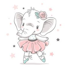 Vector illustration of a cute baby elephant holding a ...