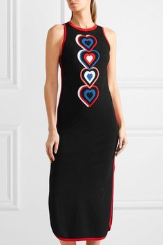 Fendi - Heart-intarsia Knitted Midi Dress - Black - IT38