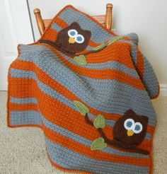 Owl Baby Blanket Boy Baby Shower Gift by abbycove on Etsy