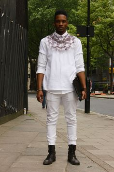 Phoenix Magazine- London Collections MEN Street Style Nas Abraham in Seraph Clothing t-shirt.