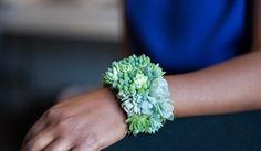 This is SO COOL!! If I was going to a grown up prom...  Striking succulent cuff bracelet by PassionflowerToWear on Etsy, $175.00