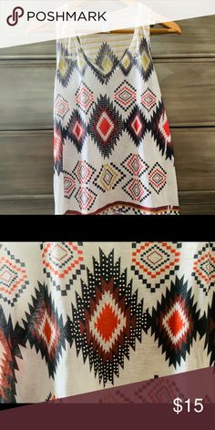 M Fasis Racerback Rhinstone Tank This tank is in excellent condition. Gold, red, and navy southwest pattern embellished with rhinestones. 💎 M Fasis by California Blue M. Rhinestones, California, Quilts, Navy, Tank Tops, Pattern, Red, Closet, Blue