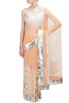 Peach net applique embroidered sari BY VARUN BAHL. Shop now at perniaspopupshop.com #perniaspopupshop #clothes #womensfashion #love #indiandesigner #jade #happyshopping #sexy #chic #fabulous #PerniasPopUpShop #ethnic #indian #varunbahl