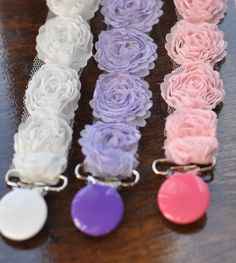 High End Boutique shabby chic  Rose Flowers Baby Infant Newborn Girl Pacifier Binky Clips Pink  Purple White on Etsy, $8.50
