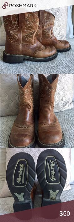 """Ariat Boots Full Description below:  Brand: Ariat  Style: Ariat Fatbaby Saddle Color: Russet Rebel Full Grain Leather/Suede Shaft Height: 8"""" Circumference: 14"""" Fit: True to Size Outsole: Crepe Upper: Full Grain Leather/Suede Size: 7 US Ariat Shoes"""