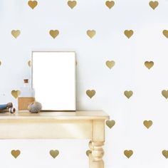 """64 gold metallic 3"""" heart vinyl wall decals. Peel and stick these lovely metallic gold heart vinyl wall stickers that are removable. Gold and silver are such lovely accents! What a fun way to dress up"""