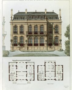 French Poster featuring the drawing Parisian Suburban House And Plans by Leon Isabey Architecture Drawing Plan, House Architecture Styles, Architecture Design, Classical Architecture, Sims 4 House Plans, House Floor Plans, Modern Minecraft Houses, Casas The Sims 4, Suburban House