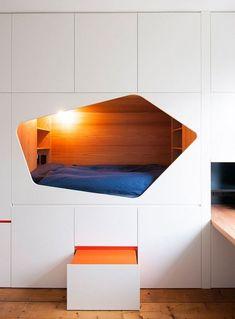 *캐비넷 침대 [ Van Staeyen Interieur Architecten ] wall of cabinets with a sleeping nook for a child's bedroom Alcove Bed, Bed Nook, Kids Bedroom Furniture, Cool Furniture, Bedroom Decor, Fall Bedroom, Furniture Movers, Bedroom Kids, Furniture Design