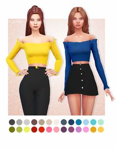 Naevys Sims — Cute off shoulder, frill top by Marigold recolored. Sims Four, The Sims 4 Pc, Sims 4 Mm Cc, Sims 1, Sims 4 Mods, Maxis, Sims 4 Cc Kids Clothing, Sims 4 Characters, Sims 4 Dresses