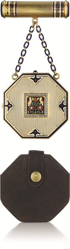 Art Deco Cartier Enamel and Diamond Vanity Case - 1925