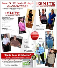 Ignite your weight loss! Take the 8 day challenge, lose 5-15lbs in 8 days!
