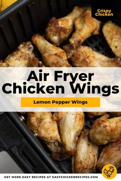 Get your taste buds tingling with these delicious lemon pepper chicken wings. Cooked in the air fryer, they are perfectly crispy and succulent, and of course, finger lickin' good! #airfryerrecipe #chickenwings #appetizer #partyfood Chicken Appetizers, Appetizer Recipes, Lemon Pepper Chicken Wings, Air Fryer Chicken Wings, Chicken Wing Recipes, Crispy Chicken, 30 Minute Meals, Air Fryer Recipes, Taste Buds