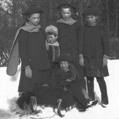 Children of Tsar Nicholas II and Empress Alexandra ~ Grand Duchesses Tatiana, Marie, Olga and Anastasia. Tsarevich Alexei.