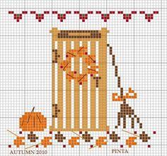 Free cute fall-door cross stitch pattern (link not in English).