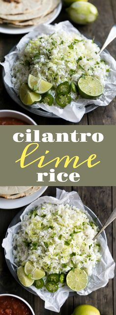 Easy Cilantro Lime Rice via @theforkedspoon #rice #carbs #sides #lime #cilantro #mexican #easyrecipe