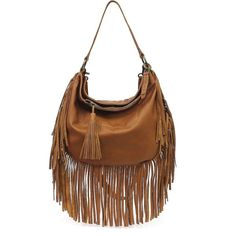 Lucky Brand Leather Rickey Crossbody Hobo ($208) ❤ liked on Polyvore featuring bags, handbags, shoulder bags, tobacco, hobo shoulder bag, brown leather handbags, leather fringe handbag, leather hobo handbags and crossbody purse