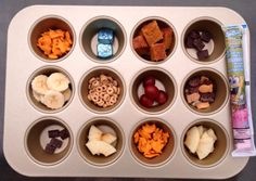 "For kids: ""Sick Day Snack Tray"". When they're too sick to eat much, give them little bites using a muffin tin and placing bananas, apples, granola bar bites, crackers, chocolate chips, cereal in the wells of the tin.  It's a fun surprise for them to see what's in each well.  Also great for road trips! www.scrumptiouscateringco.com"