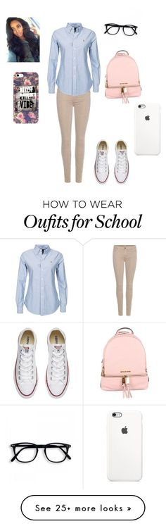 """School "" by trapsoul0910 on Polyvore featuring 7 For All Mankind, Polo Ralph Lauren, Converse and MICHAEL Michael Kors"