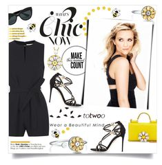 """""""Reese Witherspoon & Totwoo Smart jewelry"""" by violetta-valery ❤ liked on Polyvore featuring Dolce&Gabbana, Victoria, Victoria Beckham, Miu Miu and Mary Kay"""