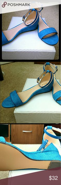 DIBA  Snakeskin Wedges by Stitch Fix Vibrant blue wedges from Stitch Fix.  LOVE the shoe & the color, but unfortunately it doesn't fit me quite right.  Only worn 1 time.  Adds a splash of color to any outfit! Diba Shoes Wedges