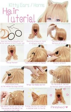 Kawaii neko ear hairstyle tutorial <3