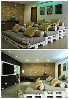 home theater ideas This pallets idea will turn your movie nights into comfortable ones and in a cooler way than single seats. Moreover, its an easy and cheap way to do a personal home theater.the only thing you need to do this project is a big room! Home Theater Room Design, Movie Theater Rooms, Home Cinema Room, Home Theater Setup, Best Home Theater, Home Theater Seating, Theater Seats, Movie Rooms, Home Theatre Rooms