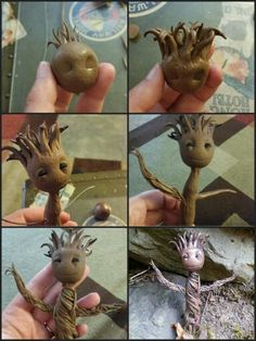 Baby Groot from Guardians of the Galaxy. Handmade from polymer clay by Lindsey (Serry-Mehl) Reynolds :)