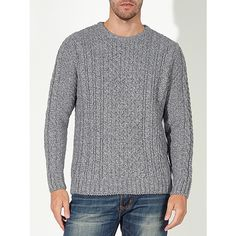 Buy Natural John Lewis Made in England Cable Knit Jumper, XXL from our Men's Jumpers & Cardigans range at John Lewis & Partners. Cable Knit Jumper, Mens Jumpers, Off Duty, Snug Fit, John Lewis, Wool Blend, Fashion Ideas, Men Sweater, England