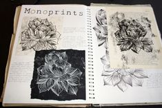 A3 Sketchbook work. Here I have looked at monoprinting on various textures and papers to see which works best and fits in with my unit in the best way possible. Dimensions: Double page spread in A3 sketchbook