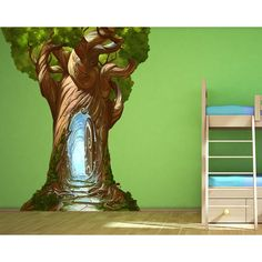 Start your quest with this Magical Tree Door. Transport yourself to any land where the adventure can begin! Wall Mural Decals, Tree Wall Murals, Wall Sticker, Tree Bedroom, Bedroom Ideas, Classroom Tree, Enchanted Tree, Tree Tunnel, Magical Tree