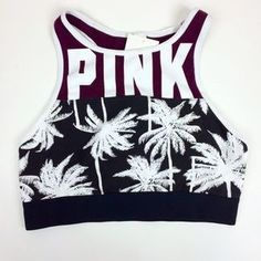 I just discovered this while shopping on Poshmark: VS PINK Crop Palm tree/maroon…