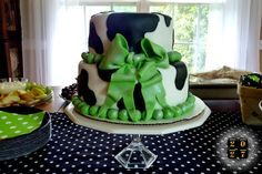 2027: Black, White and Green Polka Dotty Cow Themed Baby Shower