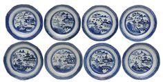 Oito pratos em porcelana chinesa da Companhia das índia..