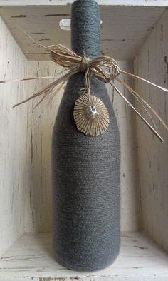 Dark Grey Yarn Wrapped Upcycled Wine Bottle by KoliekaiKreations, $20.00