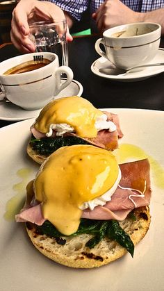 Eggs Benedict with ham at Speakeasy Kitchen in South Yarra