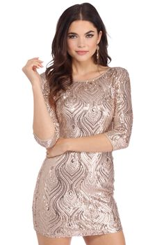 Rose Dinner Party Dress | The perfect dress for your next dinner party! This pretty gal features a round neckline, 3/4 sleeves, a scoop back, a beautiful sequin detail and a short flirtatious fit.