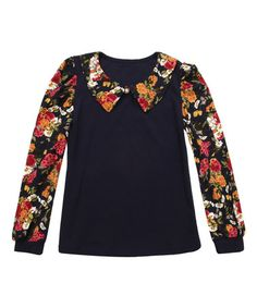 Look what I found on #zulily! Navy Floral Collar Tee - Toddler & Girls #zulilyfinds
