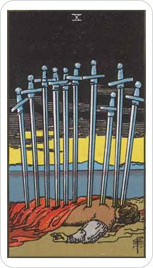 "The Ten of Swords card suggests that my power today lies in acceptance. It's over and done in no uncertain terms. I recognize, surrender to or accept the finality of the truth or consequences in order to look to the future or have ""changed my mind."" I let go of all attachment or resistance to sustaining conditions that don't work or are out of my hands.I am empowered by truth and consequences and my virtue is liberation or release from suffering, uncertainty or victimhood"