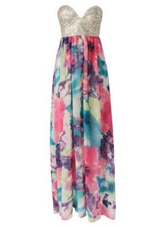 Fabulous Strapless Floral Print Maxi Dress
